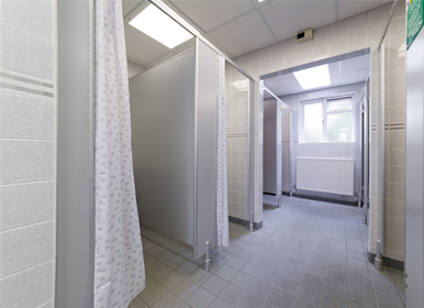 Fully centrally heated toilet and shower block with free hot showers